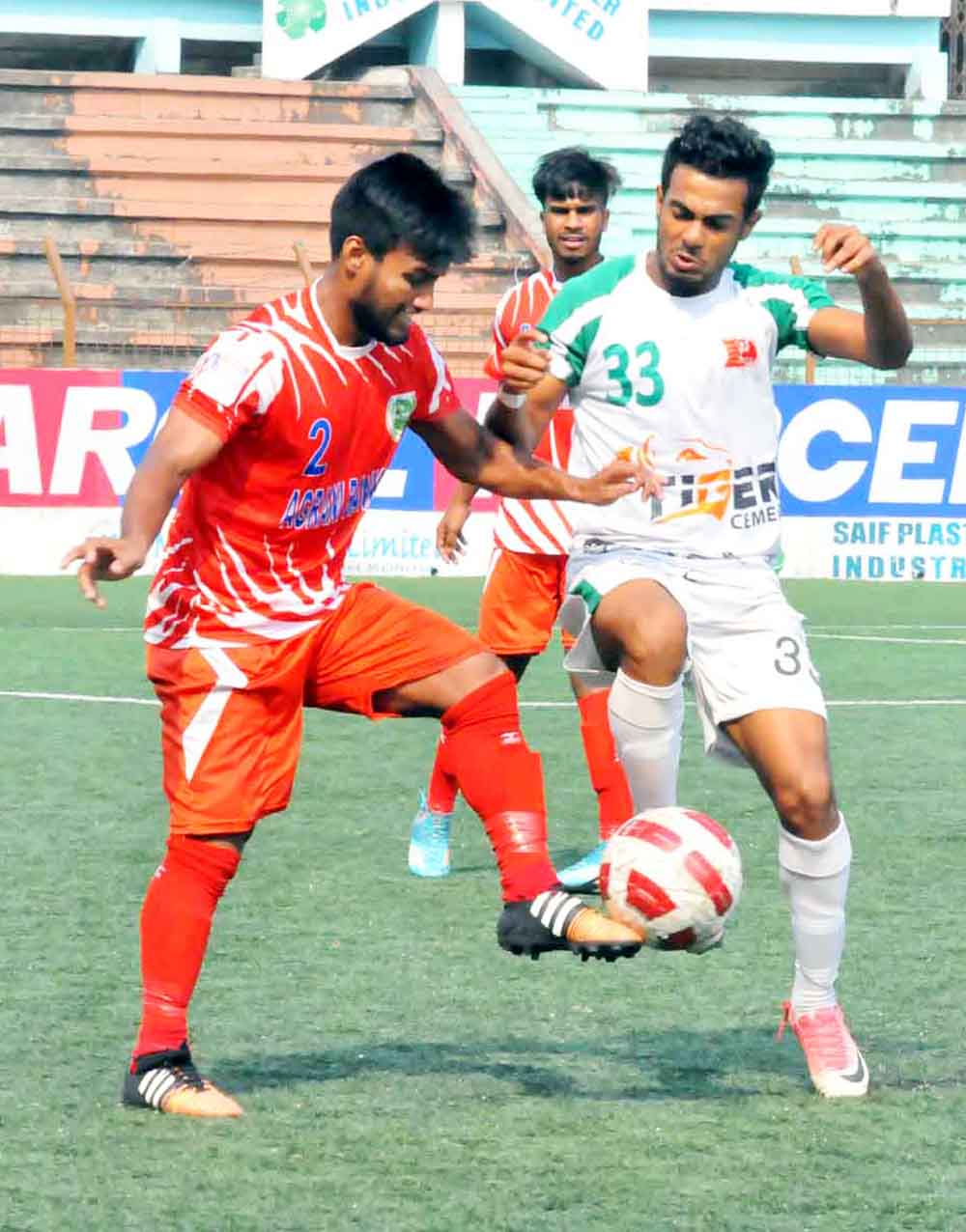 An action from the Marcel Bangladesh Championship League Football  match between Kawranbazar Progoti Sangho  and Agronibank SC Limited team at Bir Sreshtho Shaheed Sipahi Mohammad Mostafa Kamal Stadium in the city's Kamalapur  on Thursday. Agronibank won the match 1-0.