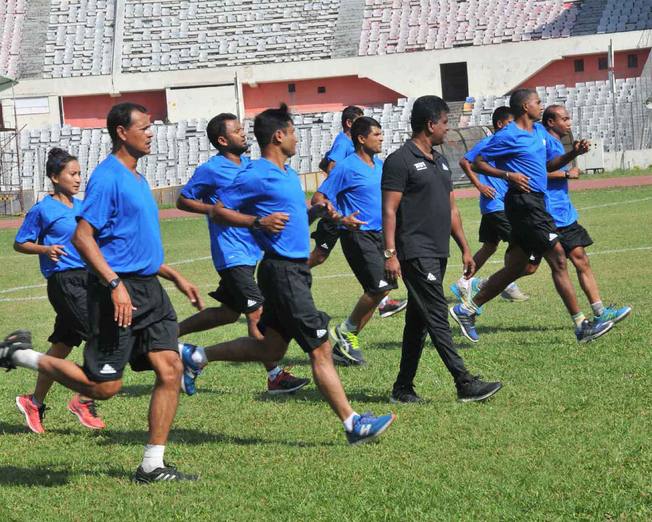 The participants of the FIFA MA Referees' Course during their training session at the Bangabandhu National Stadium on Sunday.