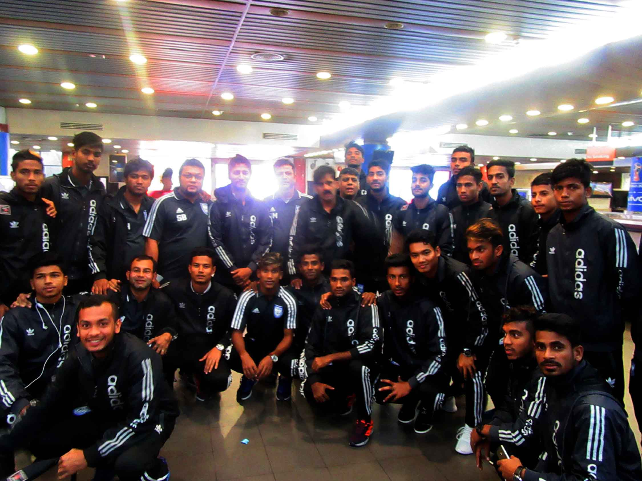 Members of Bangladesh Under-19 National Football team arrived at the Hazrat Shahjalal International Airport on Sunday.
