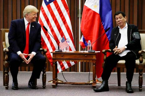 Trump and Duterte bond at Asia summit; U.S. says rights mentioned briefly
