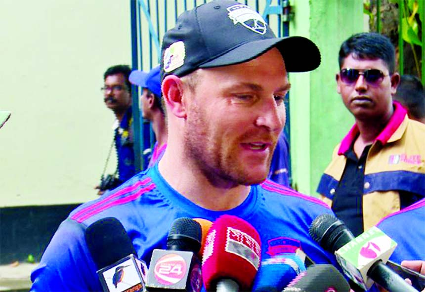Brendon McCullum of Rangpur Riders talking to the newsmen in the city's Mirpur on Thursday.