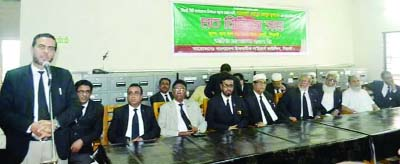 SYLHET: Adv Ahasanul Mahbub Jubaer announcing his candidature for Sylhet City Corporation election at a view exchanging meetinhg with lawyers at Sylhet Bar Association yesterday.