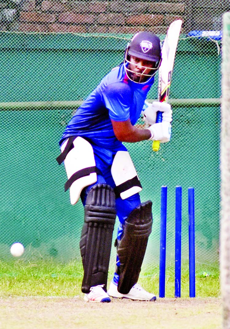 Chris Gayle of Rangpur Riders taking part at the practice session at the BCB-NCA Ground in the city's Mirpur on Friday.