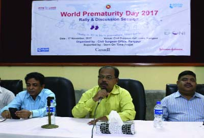 RANGPUR: Dr Md Mozammel Hossain,  Divisional Director, Health, Rangpur speaking at a press  briefing organised on the occasion of the World Prematurity Day at Civil Surgeon Office Auditorium, Rangpur on Friday.