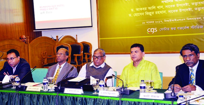 Former Adviser to the Caretaker Government Dr Akbar Ali Khan, among others, at  a seminar on 'Bangladesh's New Middle Class, Democracy and Questions of Religion' organised by Center for Governance Studies in BIISS auditorium in the city on Saturday.