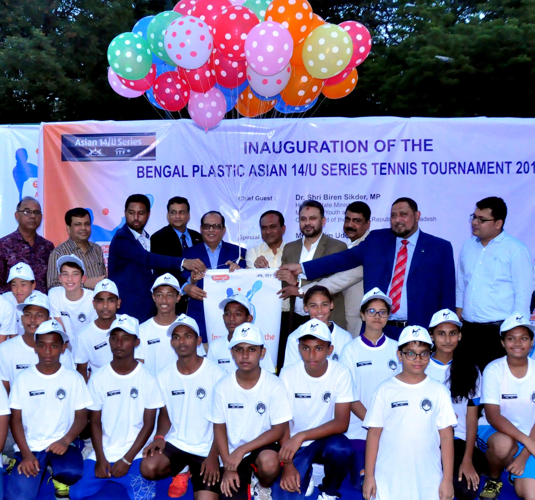 Opening ceremony of the Bengal Plastic Asian U-14 Series Tennis competition at Ramna National Tennis Complex in the city on Sunday.