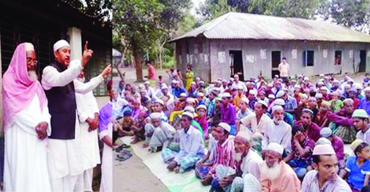 GAFFARGAON: Vice-Chairman of the Central Committee of Muktijodha Sanghati Parishad Major (Retd.) Md Rezaul Karim, a veteran freedom fighter and an Awami League leader addressing a meeting on his  participation in the coming National Election as a  candidate from Awami League in the election area Mymensingh-10 (Gaffargaon & Pagla PS) Primary School field, Gaffargaon on Friday.  Among others, freedom fighter Mofazzal Hossain, Auditor (retd.) Alhaj Abdul Karim and Ex Ward Member Saiful Islam also spoke in the meeting at Charalgi (Nidiar Char) .