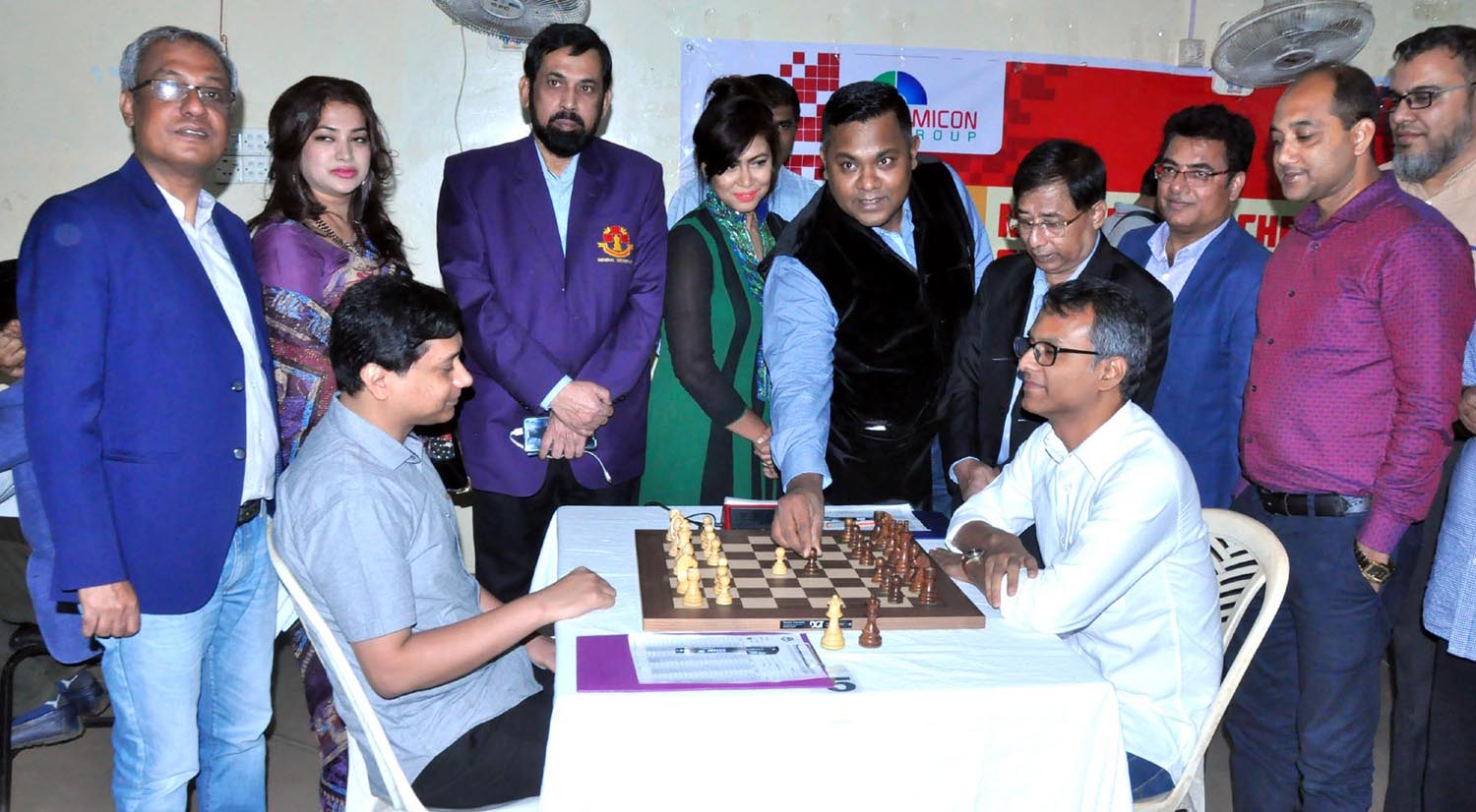 A scene from the opening ceremony of the Omicon Group 43rd National A Chess Championship held at Bangladesh Chess Federation hall-room on Tuesday.