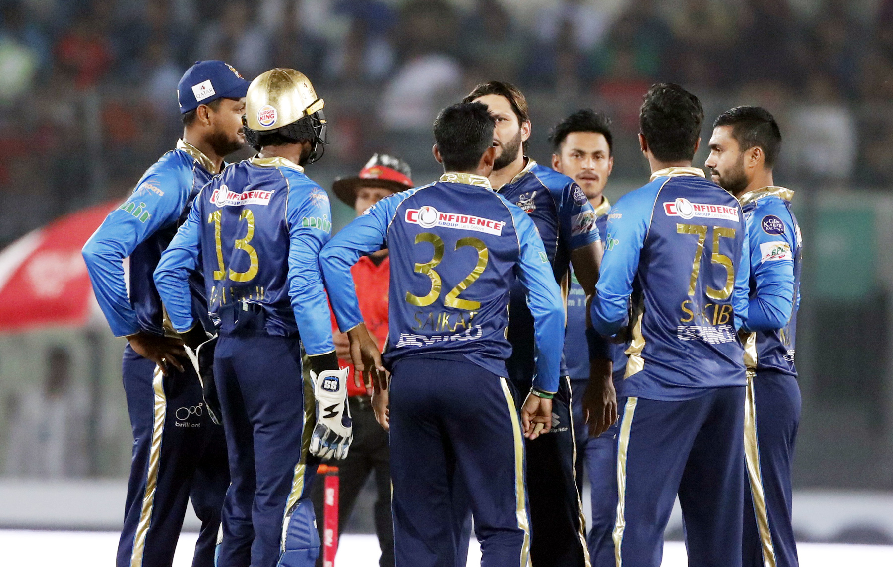 Players of Dhaka Dynamites celebrate after dismissal of a wicket of Rangpur Riders during the match of the AKS Bangladesh Premier League (BPL) Twenty20 Cricket between Dhaka Dynamites and Rangpur Riders at the Sher-e-Bangla National Cricket Stadium in the city's Mirpur on Tuesday.