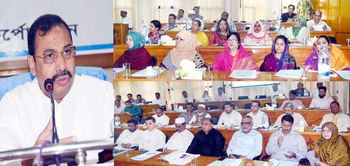 CCC Mayor A J M Nasir Uddin addressing the meeting of    28th general meeting of elected representatives of CCC as Chief Guest on Monday.
