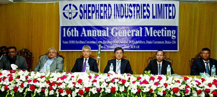 Chung Wen Kuei, Chairman of Shepherd Industries Limited, presiding over its 16th AGM at a city convention center on Tuesday. Kao Wen Fu, Managing Director, Monzur Alam Khan, Independent Director, Md Ataur Rahman, CFO, Md Abdul Mannan, DMD and Mohammed Abu Zafor, CS were also present among others. The AGM approves 10pc stock dividend for the year 2016.