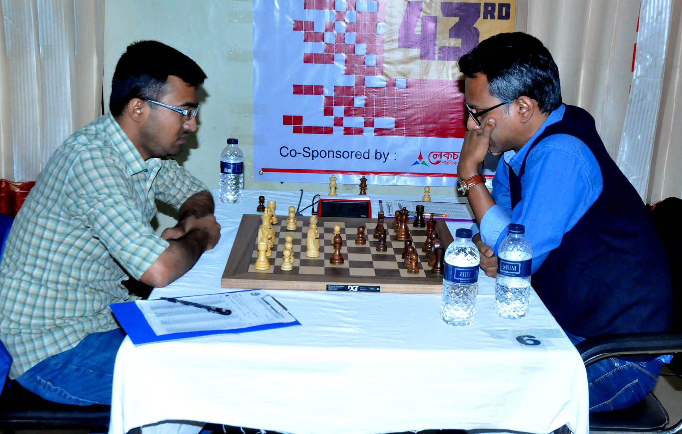 A scene from the Omicon Group National A Chess Championship held at Bangladesh Chess Federation hall-room on Thursday.