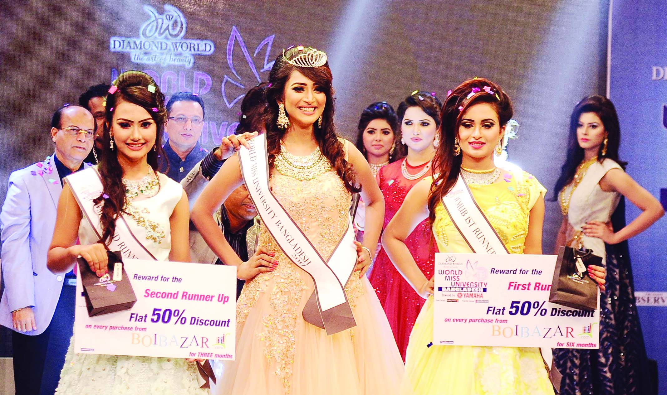 Tahmina Othoi, a student of Chittagong University has been crowned the winner of 'World Miss University Bangladesh' at a gala event presented by Diamond World in the city recently. She will represent Bangladesh in the World Miss University-2017 in Cambodia on 19 December. First runner-up Tahsin Wazed Esha is a student of North-South University and the second runner up Fatema Yasmin Lia is a student of BGMEA University. Prime Minister's media advisor Iqbal Sobhan Chowdhury was present at the grand finale as the Chief Guest.