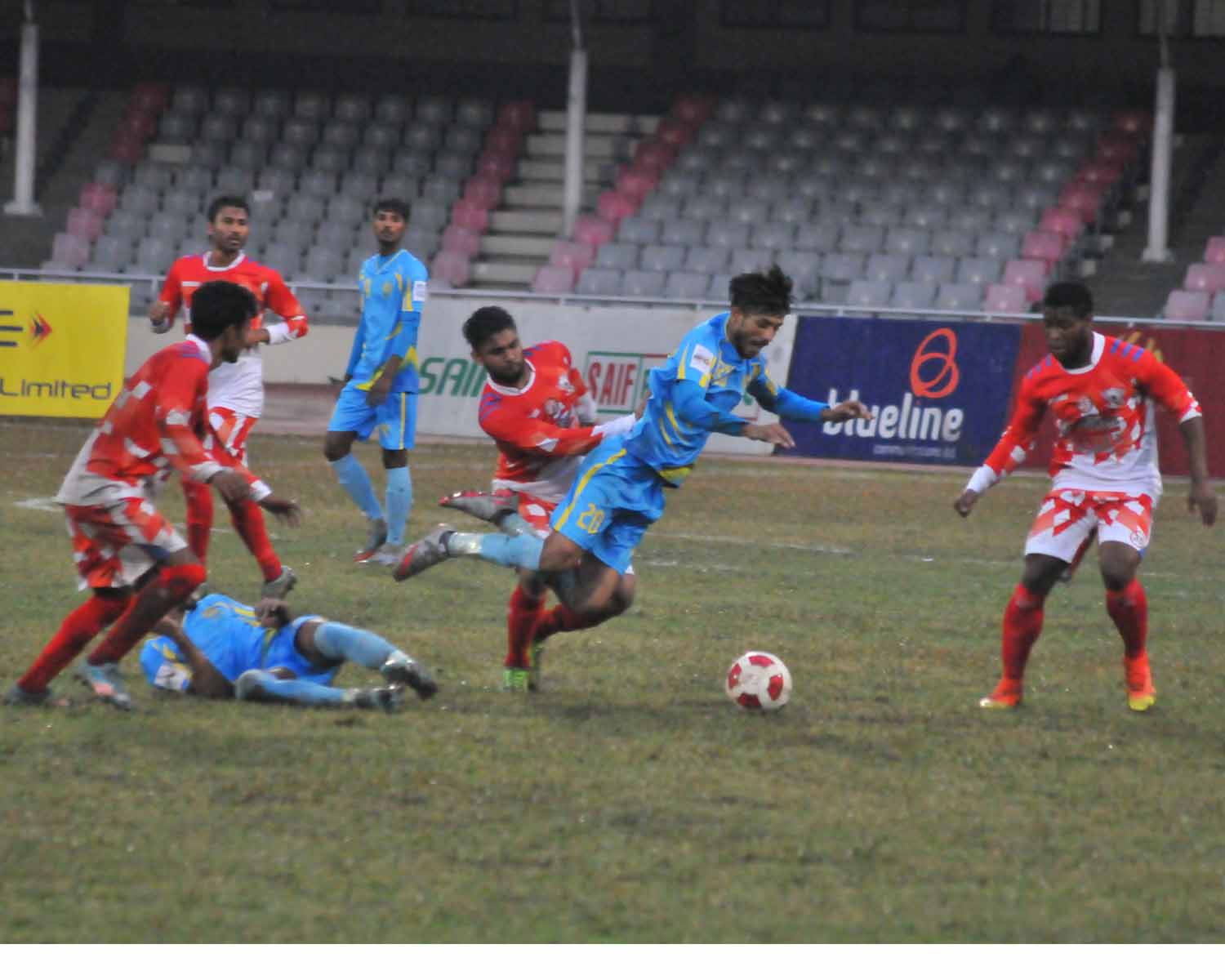 An action from the match of the Saif Power Battery Bangladesh Premier League Football between Dhaka Abahani Limited and Sheikh Russel Krira Chakra at the Bangabandhu National Stadium on Saturday. Dhaka Abahani Limited won the match 1-0.