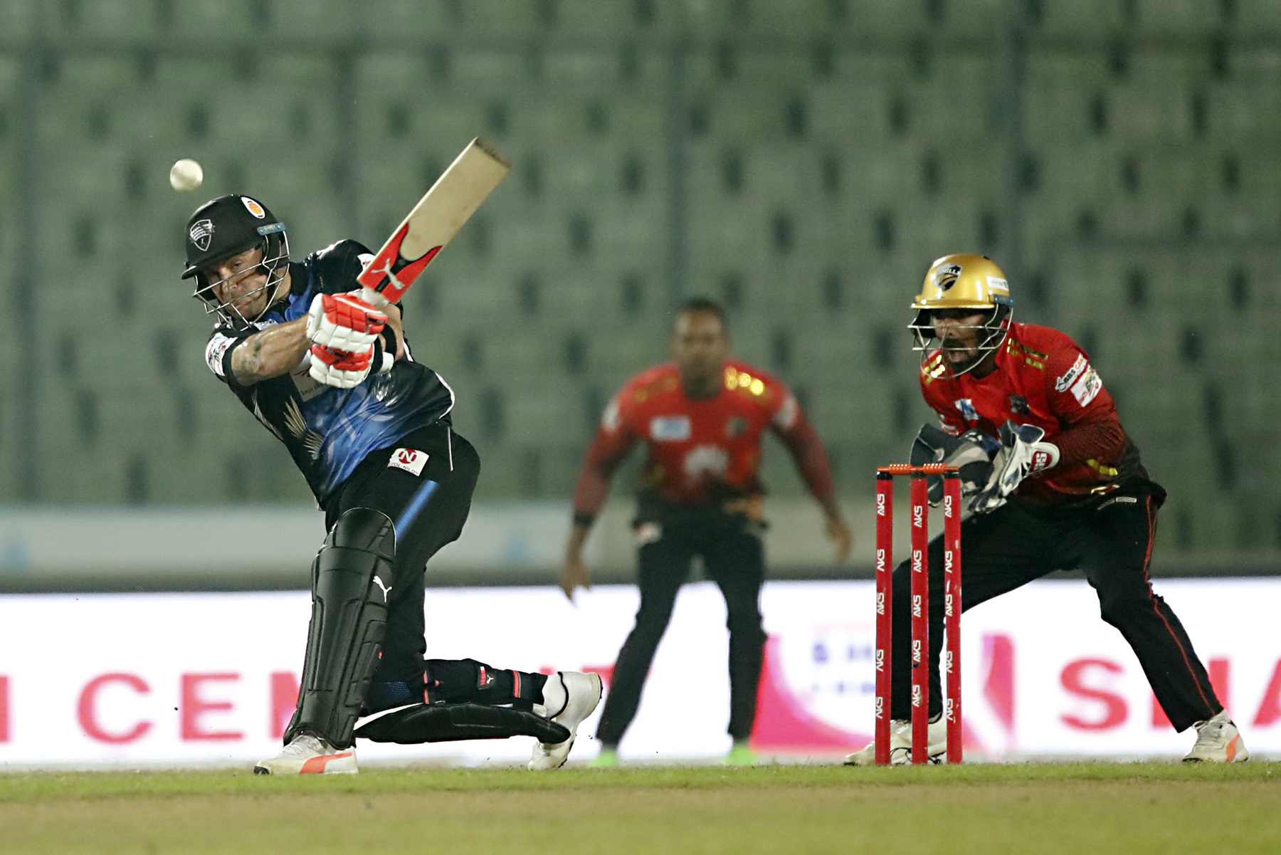 Brendon McCullum of Rangpur Riders tries to hit a ball during the Qualifier-2 match of the AKS Bangladesh Premier League (BPL) Twenty20 Cricket between Comilla Victorians and Rangpur Riders at the Sher-e-Bangla National Cricket Stadium in the city's Mirpur on Monday.