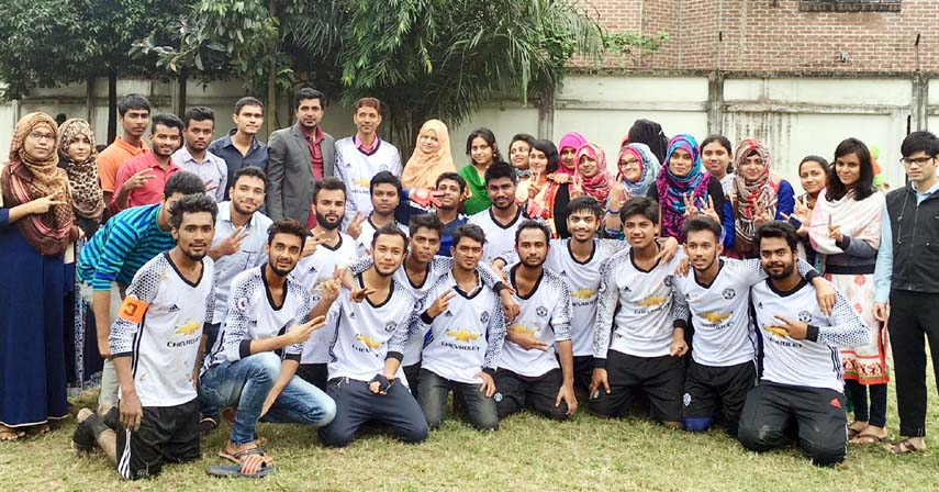 Members of the winning team of the Intra-college Football Competition of Teachers' Training College, Dhaka are seen with their patron Associate Professor Ranjit Podder, student representative Alamin Sabuj, and other teachers and supporters in a jubilant mood. In the final match, the first year team defeated the 4th year team by 2-0 goals held at the College field on Monday.