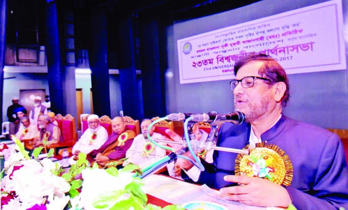 Cultural Affairs Minister Asaduzzaman Noor speaking at the International All Religious Universal Prayers organised by Hakkani Anjuman Bangladesh at the Engineers' Institution in the city on Tuesday.