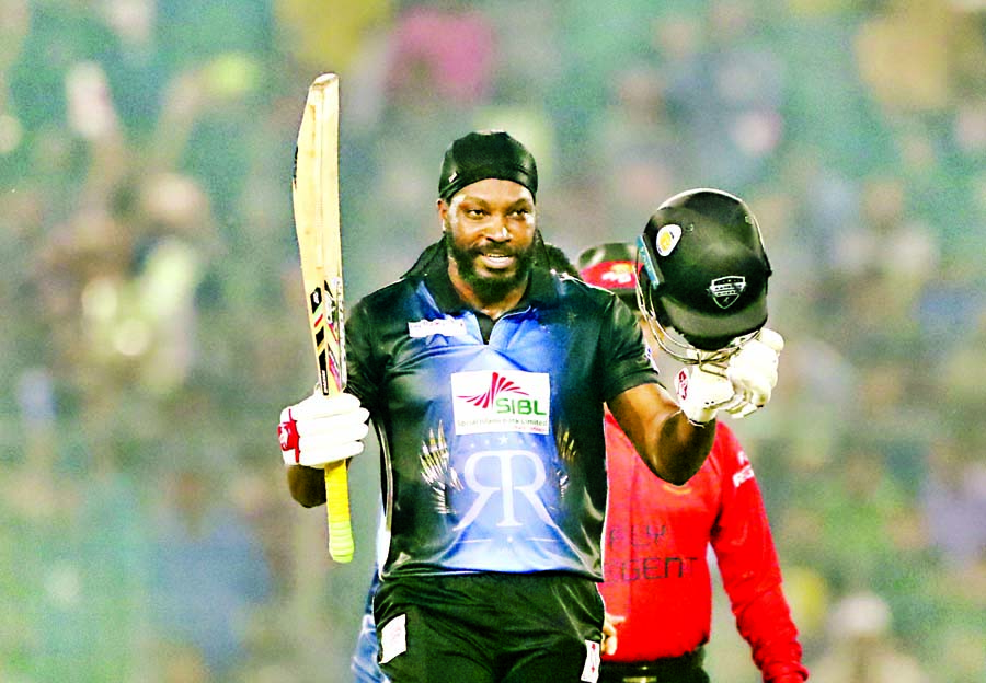 Chris Gayle of Rangpur Riders celebrates his century during the final match of the AKS Bangladesh Premier League (BPL) Twenty20 Cricket between Rangpur Riders and Dhaka Dynamites at the flood-lit Sher-e-Bangla National Cricket Stadium in the city's Mirpur on Tuesday.
