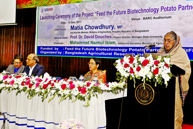 Agriculture Minister Matia Chowdhury speaking as Chief Guest at the launching ceremony of the Project
