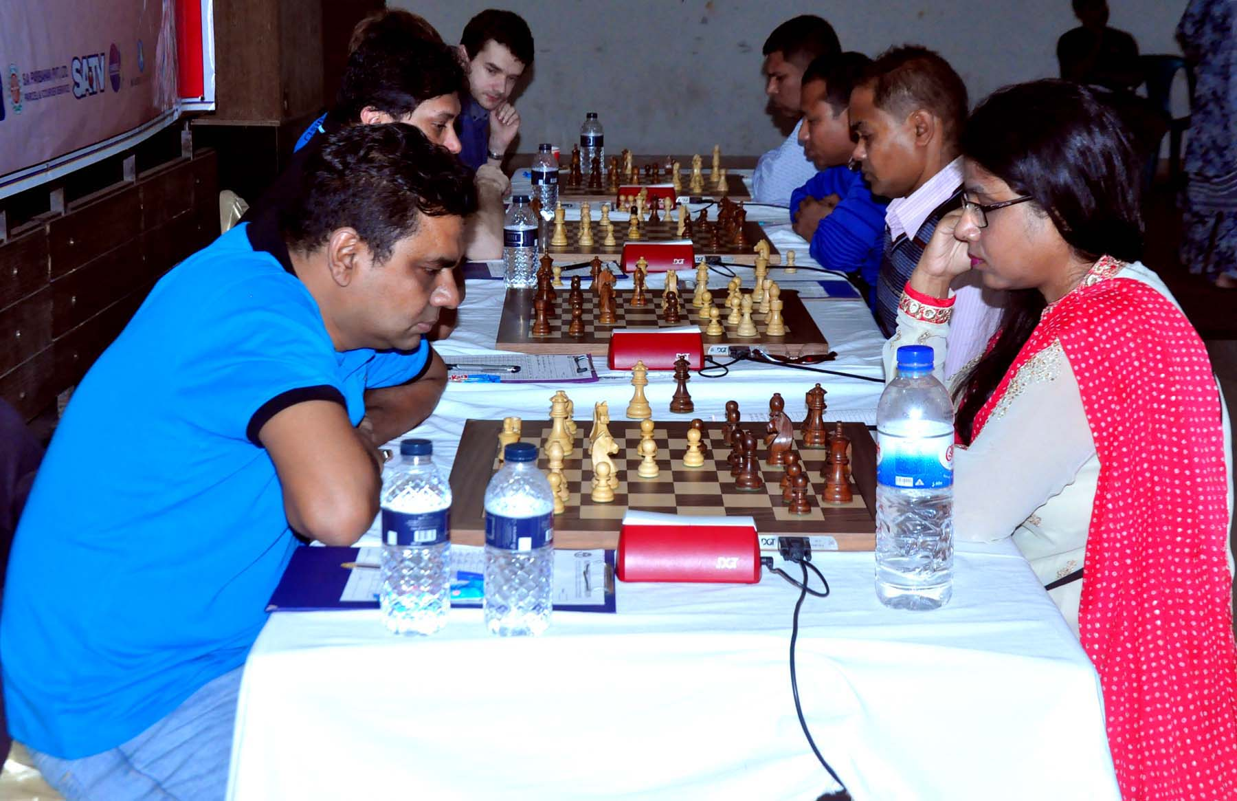 A scene from the SA Group Premier Division Chess League at the Auditorium of the National Sports Council Tower on Wednesday.