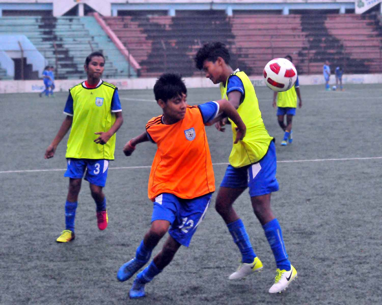 Members of Bangladesh Under-15 National Women's Football team during their practice session at the Bir Shreshtha Shaheed Sepoy Mohammad Mostafa Kamal Stadium in the city's Kamalapur on Wednesday.