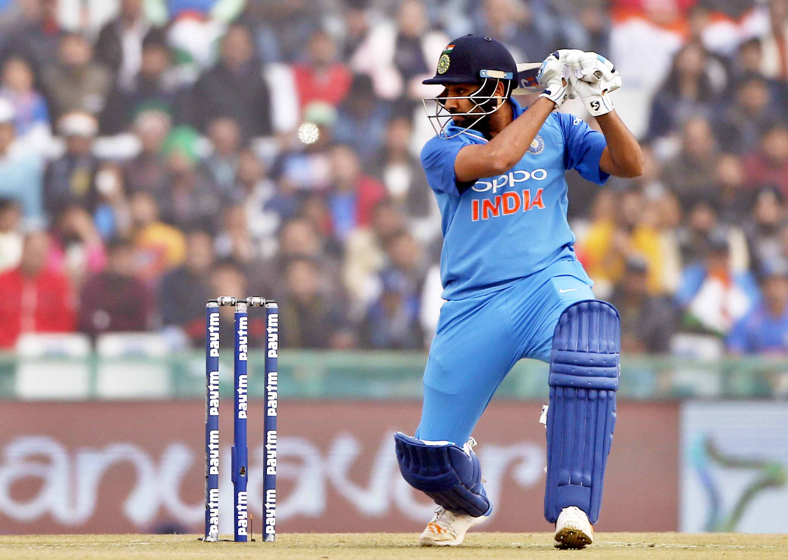 India's captain Rohit Sharma watches his shot during their second One Day International cricket match against Sri Lanka in Mohali, India on Wednesday. India won the match by 141 runs.