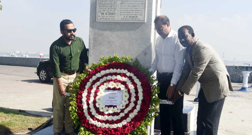 CCC Mayor A J M Nasir Uddin placing wreaths at the grave at Red Kin , a Russian sailor who martyred during mine exploration after Liberation War  at Naval Academy on Tuesday.