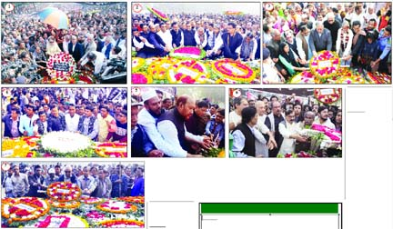 (1) BNP Chairperson Begum Khaleda Zia along with party leaders and activists placing floral wreaths at the altar of Martyred Intellectuals Memorial in the city's Mirpur on Thursday, (2) Awami League leaders and activists at Rayer Bazar Badhyabhumi, (3) Ganoforum President Dr Kamal Hossain along with the party leaders and activists at Mirpur Martyred  Intellectual Memorial, (4) Dhaka Mahanagar Dakshin Swechchhasebak League led by its General Secretary Arifur Rahman Titu at Rayer Bazar Badhyabhumi, (5)Muktijoddha Sanghati Parishad Central Committee led by its Vice-Chairman and also freedom fighter Alhaj Major (Retd) Mohammad Rezaul Karim at Mirpur Martyred Intellectuals Memorial, (6) Nagorik Oikya led by its Convenor Mahmudur Rahman Manna and (7) Bangladesher Samajtantrik Dal at Mirpur Martyred  Intellectuals Memorial.