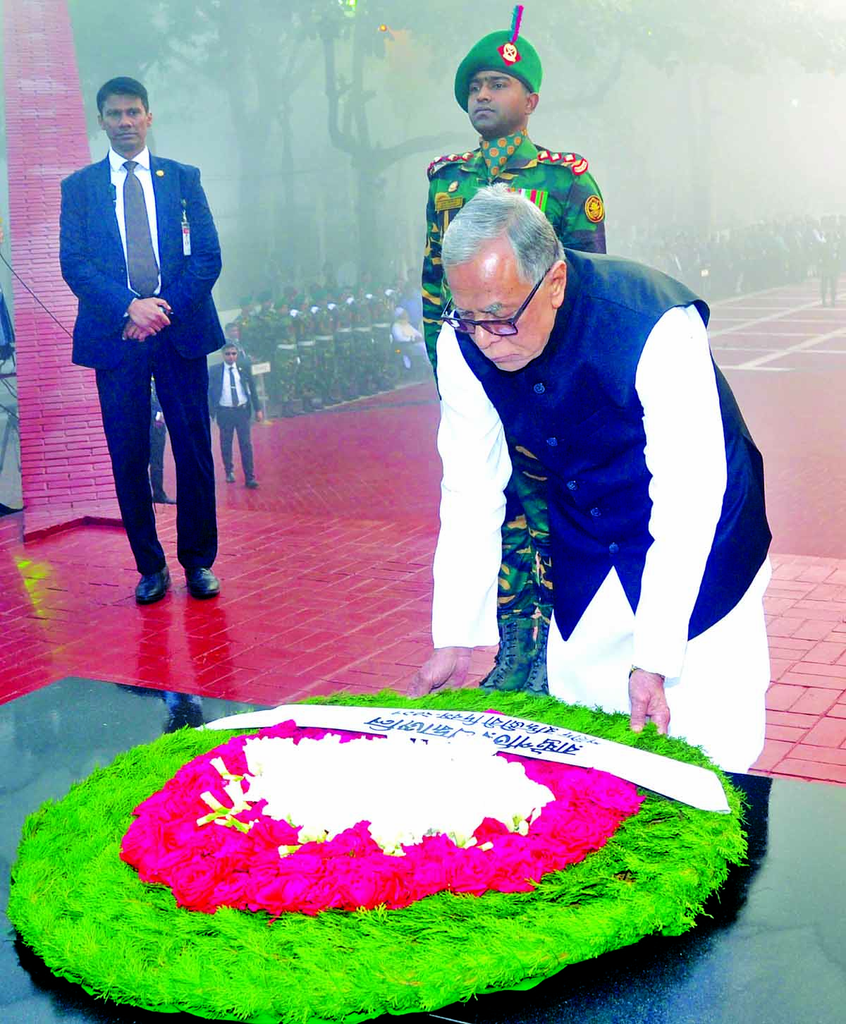 President Md Abdul Hamid placing wreaths at The Martyred Intellectuals Memorial in city's Mirpur marking the Martyred Intellectuals Day on Thursday.