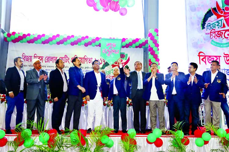 State Minister for Power, Energy and Mineral Resources Nasrul Hamid inaugurating the Victory Day Roller Skating Competition by releasing the balloons as the chief guest at the Sheikh Russel Roller Skating Complex on Friday.