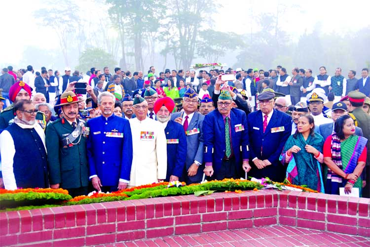 Marking the 47th Victory Day, a team of Indian allied forces led by Major General (Rtd) Joy Bhagaban Singh Jadov placing wreaths at the Savar National Memorial on Saturday.