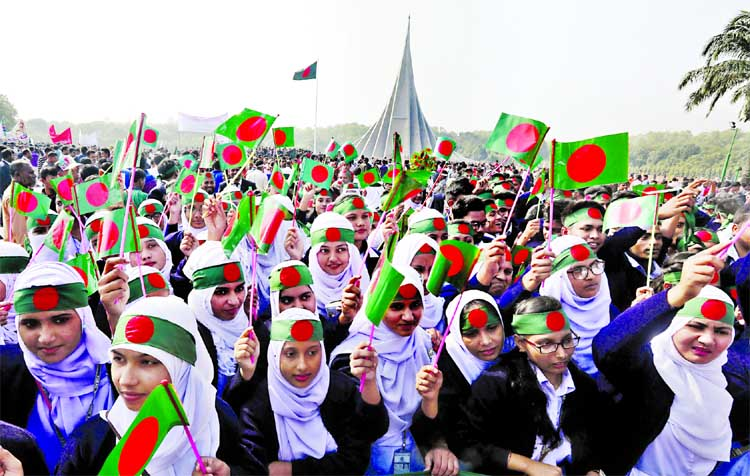 People of all walks of life including female students thronged the Savar National Memorial marking the 47th Victory Day on Saturday.
