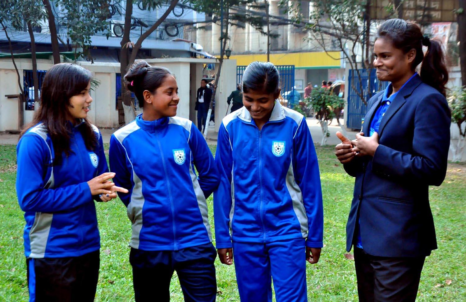 Bangladesh Woman footballers, who arrive at the BFF House to report to Head Coach of Bangladesh National Women's Football team Golam Rabbani Choton on Wednesday.