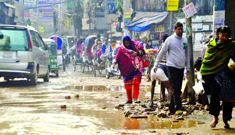 Pedestrians and also passengers suffering immensely as the water of sewerage line logging on the roads. The snap was taken from the city's Basabo area on Monday.