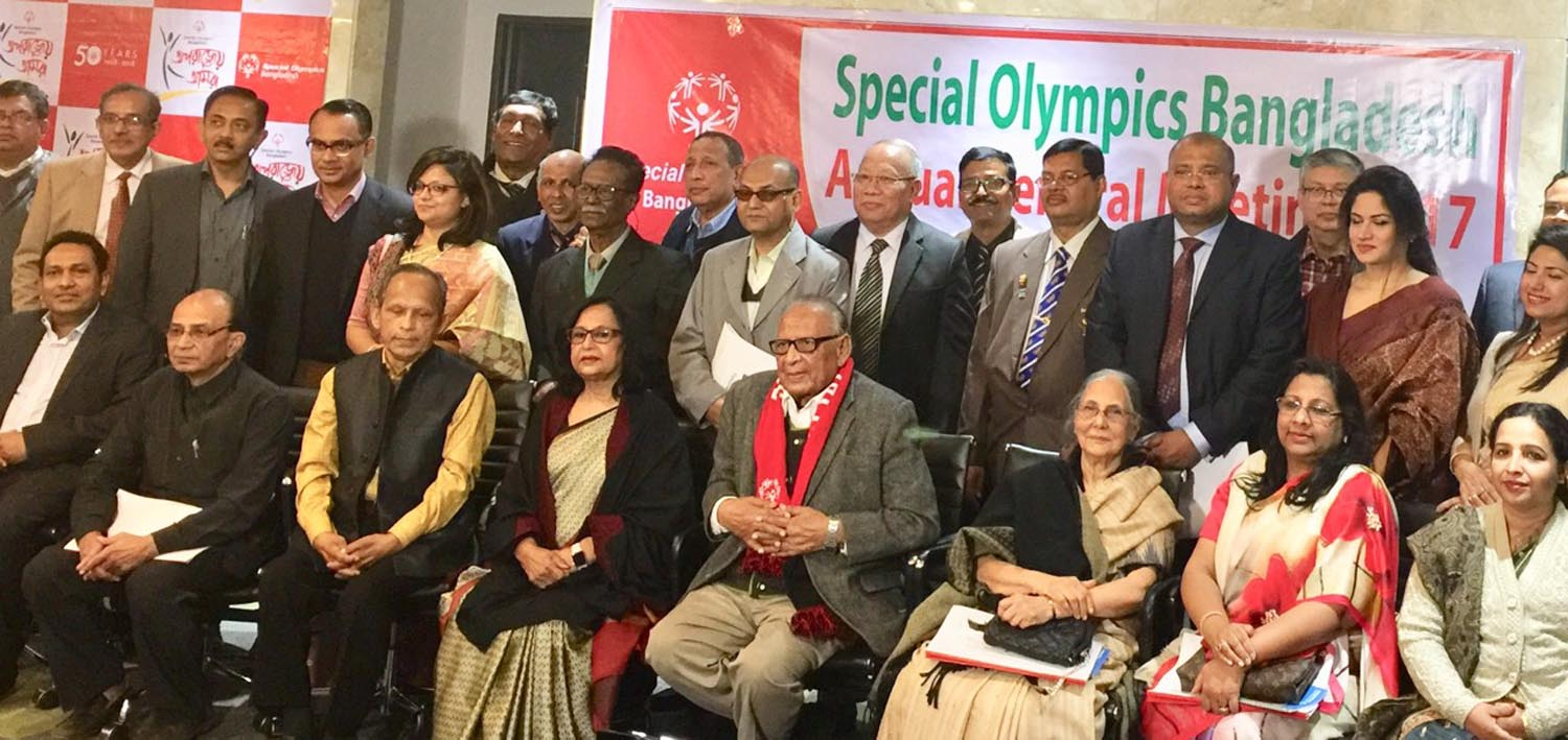 The newly elected Executive Committee of Special Olympics Bangladesh pose for a photo session in the city's Tejgaon on Saturday.