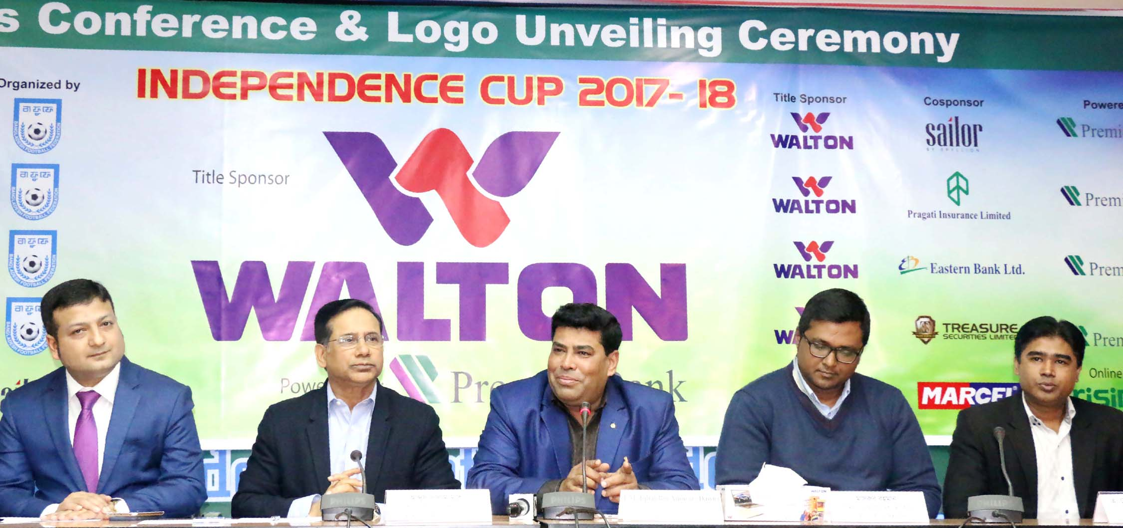 Operative Director (Head of Sports & Welfare Department) of Walton Group FM Iqbal Bin Anwar Dawn speaking at the logo-unveiling programme of the Walton Independence Cup Football at the conference room in Bangladesh Football Federation House on Monday.
