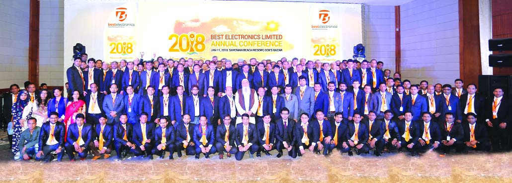 Syed Asaduzzaman, Managing Director of Best Electronics Limited, poses with participants at its Annual Conference at a hotel in Cox's Bazar recently. Subrata Saha, Director of Saha Steels Private Limited of India, Syed Ashhab Zaman Rafid, Director (Sales) and Syed Tahmid Zaman Rashik, Director (Marketing and Services) of the electronics company were also present.