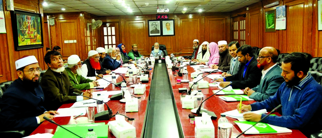 Sheikh Moulana Mohammad Qutubuddin, presiding over the Shariah Supervisory Committee meeting of Islami Bank Bangladesh Limited as Chairman at the banks head office in the city on Monday. Dr. Mohammad Abdus Samad, Member Secretary and other members of the committee were also present.