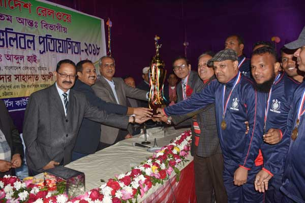 Md. Miah Jahan, Chief Transport officer of Bangladesh Railway (East) handed over champion trophy on 23rd Inter Divisional Badminton and Volleyball competition held on Thursday at Gymnasium Hall at CJKS .