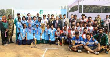 The winners of the Inter-Department Badminton Competition & Inter-Department Volleyball Competition of Bangladesh University of Professionals (BUP) with the chief guest Acting Vice-Chancellor of BUP Professor Dr M Abul Kashem Mazumder and the teachers of BUP pose for a photo session in the city on Thursday.