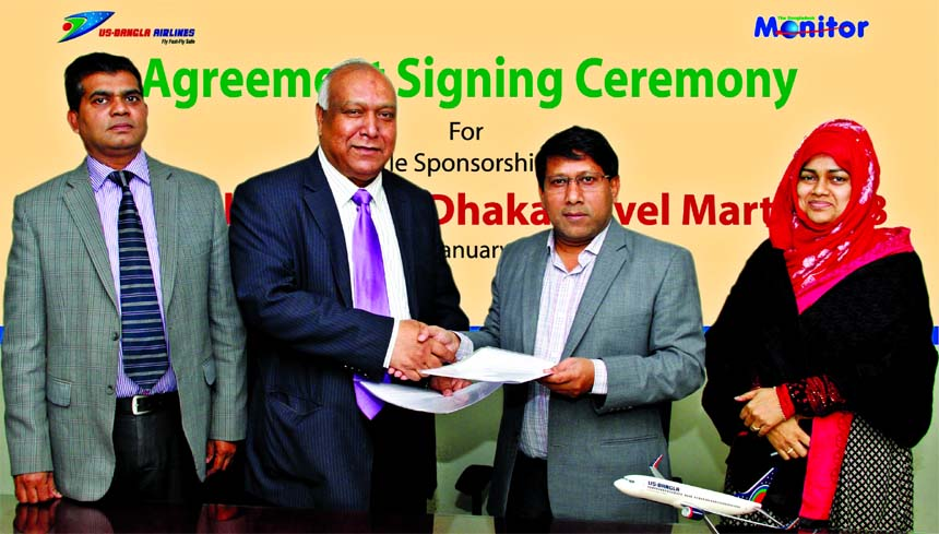 Kazi Wahidul Alam, Editor The Bangladesh Monitor and Mohammad Abdullah Al Mamun, Managing Director of US-Bangla Airlines exchanging documents after signing an agreement in Dhaka recently. Under the agreement US-Bangla Airlines will support the international tourism fair-Dhaka Travel Mart 2018, to be held in Dhaka from March 22-24, as the title sponsor.