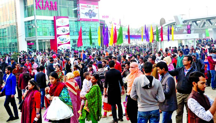 Visitors overcrowded the Dhaka International Trade Fair (DITF) on the weekly holiday on Friday.