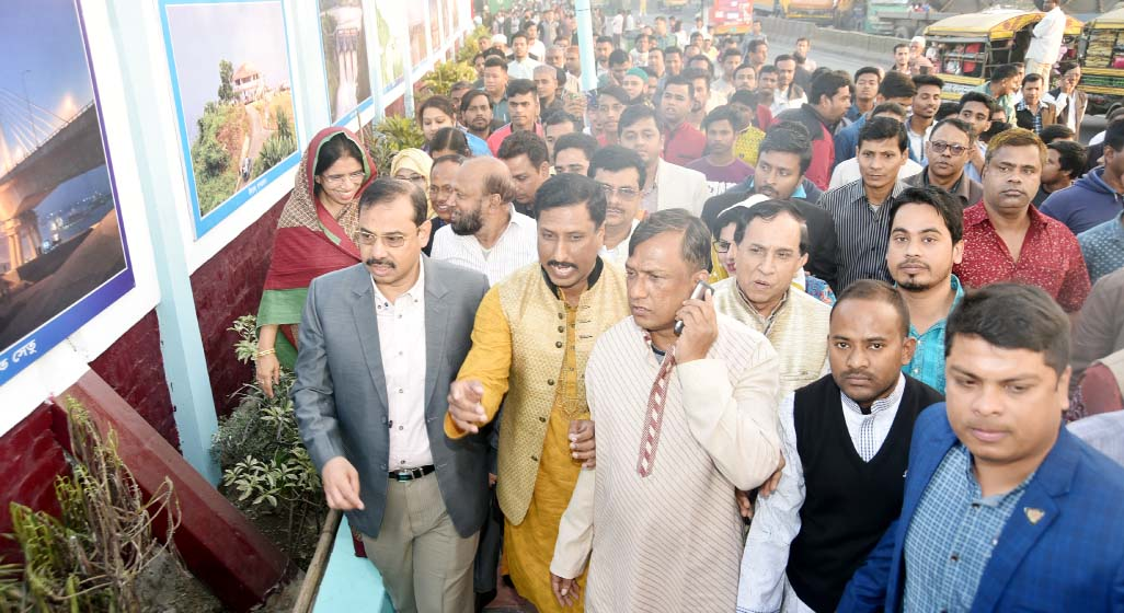 CCC Mayor A J M Nasir Uddin visiting beautification work  of footpaths at  Uttar Kattali Gate on  Friday.