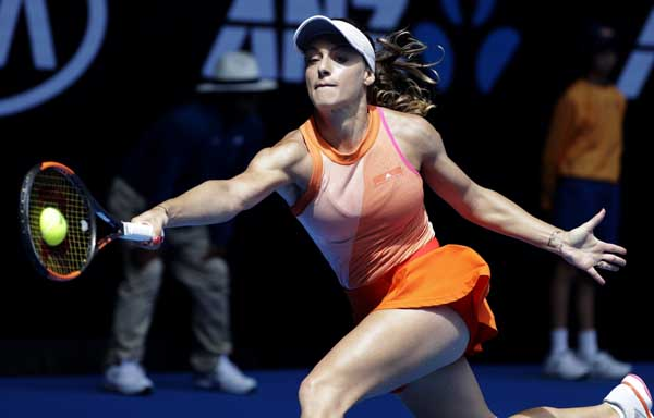 Romania`s Ana Bogdan makes a forehand return to United States` Madison Keys during their third round match at the Australian Open tennis championships in Melbourne, Australia on Saturday.