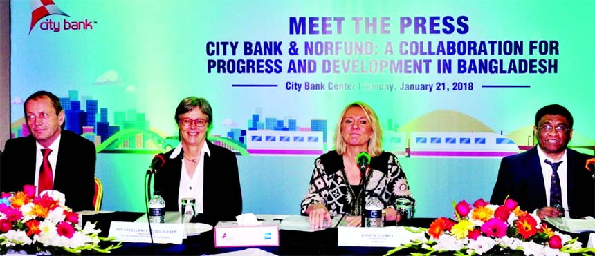 A high level delegation including board and senior management of Norfund (the Norwegian Investment Fund for Developing Countries) has been visited City Bank head office in the city on Sunday. Sidsel Bleken, Norwegian Ambassador to Bangladesh, addressing at a press conference at the banks head office while Sohail RK Hussain, CEO of the bank, Kristin Clemet, Chairperson and Kjell Roland, Managing Director of Norfund among others were present.