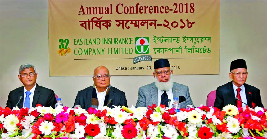 Mahbubur Rahman, Chairman of Eastland Insurance Company Limited, presiding over its AGM at a hotel in the city on Saturday. Arun Kumar Saha, Managing Director, Ghulam Rahman, Executive Vice-Chairman and ASM Quasem, Member, Board of Directors of the company among others were present.
