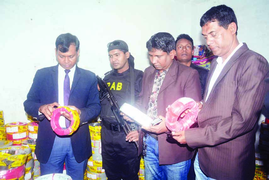 Mobile Court of RAB seized huge fake cables from a fake BRB cables making factory  by conducting raid at a building in the city's Nababpur area on Monday.
