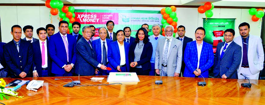 Wasif Ali Khan, Acting Managing Director of National Bank Limited, inaugurating a 33-day long Special Remittance Campaign at the banks head office in the city on Tuesday. Zakaria Mahamud, Country Manager of Xpress Money Bangladesh, ASM Bulbul, Abdus Sobhan Khan, Shah Syed Abdul Bari, DMDs, Iftekhar Hossain Chowdhury, Head of International Division of the bank, Preethi Sunil, Director of Business Development (South Asia) and Arvind Mylar, Vice-President of the company were also present.