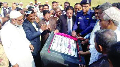 BETAGI (Barguna): Adv Dhirendra Debnath Shambhu MP inaugurating the construction work of  power sub- station  at Khajur Tola area in Barguna Sadar Upazila as Chief Guest recently.