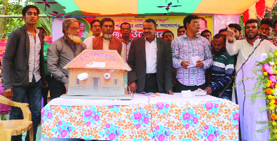 NOAKHALI: Mamunur Rashid Kiron MP inaugurating electricity connection at Sharifpur Union in Begumganj Upazila yesterday.